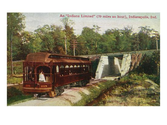 Indianapolis, Indiana - View of a Indiana Limited Train-Lantern Press-Art Print
