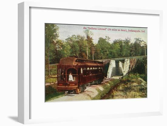 Indianapolis, Indiana - View of a Indiana Limited Train-Lantern Press-Framed Art Print