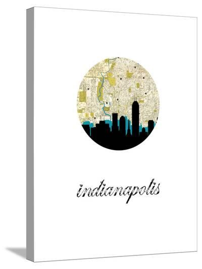 Indianapolis Map Skyline-Paperfinch 0-Stretched Canvas Print