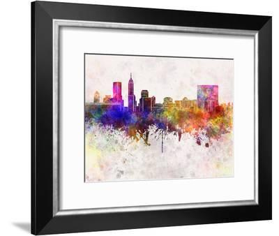 Indianapolis Skyline in Watercolor Background-paulrommer-Framed Art Print