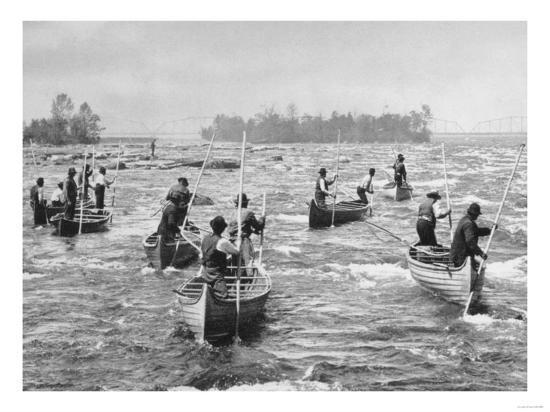 Indians Fishing in the Soo Canal Photograph - Michigan-Lantern Press-Art Print