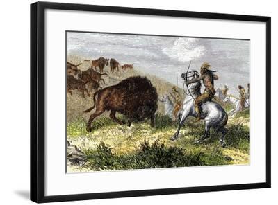 Indians Hunting Bison.-Tarker-Framed Giclee Print