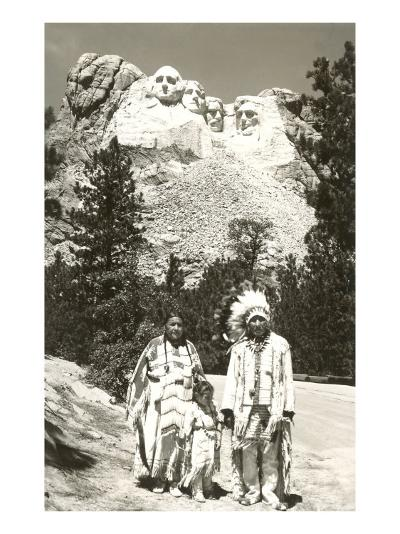 Indians in front of Mt. Rushmore, South Dakota--Art Print