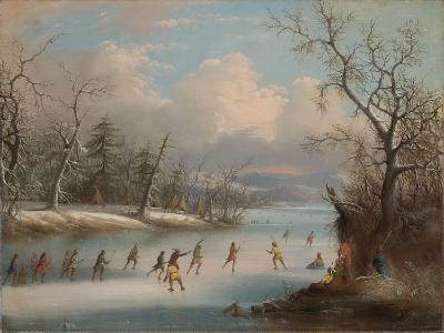 Indians Playing Lacrosse on the Ice, 1859-Edmund C. Coates-Giclee Print