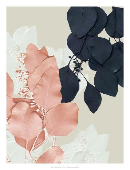 Indigo & Blush Leaves IV-Jennifer Goldberger-Art Print