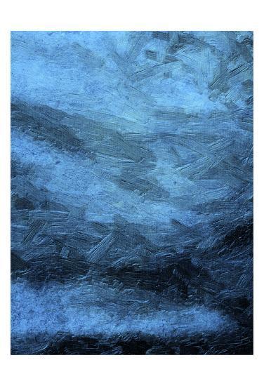 Indigo Bruch Strokes Abstract-Sheldon Lewis-Art Print