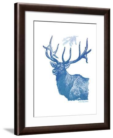 Indigo Deer II-Gwendolyn Babbitt-Framed Art Print