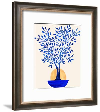Indigo Ficus Sunrise-Modern Tropical-Framed Art Print