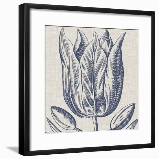 Indigo Floral on Linen VI-Vision Studio-Framed Art Print