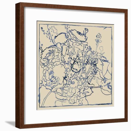Indigo Floral Sketch I-Megan Meagher-Framed Art Print