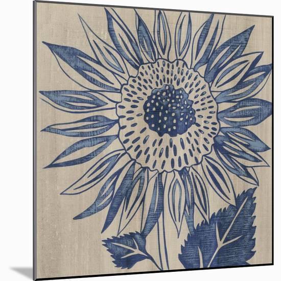 Indigo Sunflower-Chariklia Zarris-Mounted Art Print