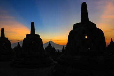 Indonesia, Java, Borobudur. Sunrise over the Active Stratovolcano-Nigel Pavitt-Photographic Print