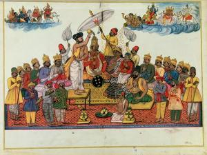 Indra, King of the Gods, Being Anointed with Soma
