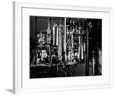 Industrial Chemist Among Glass Tubes in a Laboratory, Feb 1943--Framed Photo