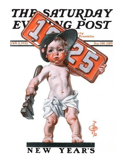 """Industrial New Years Baby with License Plate,"" Saturday Evening Post Cover, January 3, 1925-Joseph Christian Leyendecker-Giclee Print"