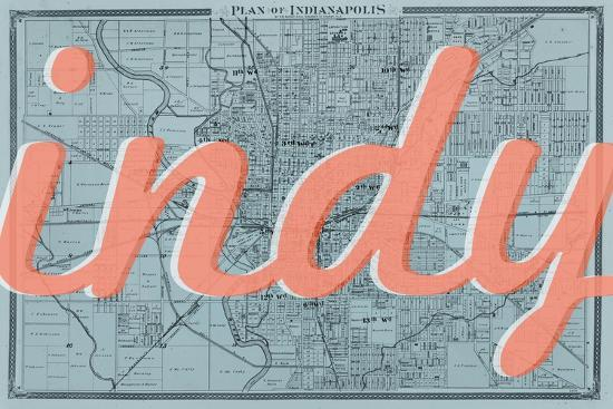 Indy 1876 Indianapolis Plan Indiana United States Map Giclee - Indianapolis-in-us-map