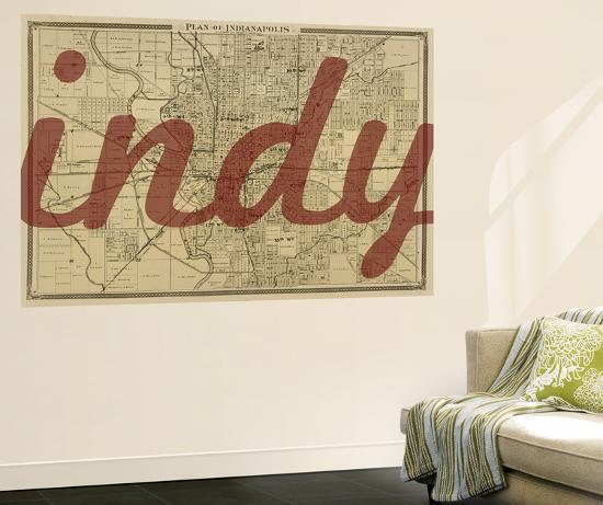 United States Map Wall Mural.Indy 1876 Indianapolis Plan Indiana United States Map Wall