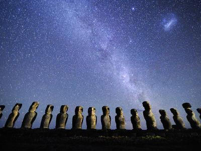 Infamous Moai Statues on Easter Island on a Starry Night-Jim Richardson-Photographic Print