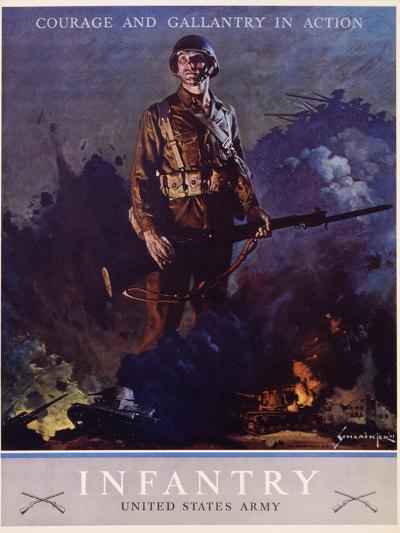 Infantry Recruitment Poster-Jes Schlaikjer-Giclee Print