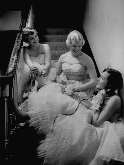 Infected with Telephonitis, the Nyvall Sisters, Sally, Sue, and Ginny, All Talking on the Phone-Grey Villet-Photographic Print