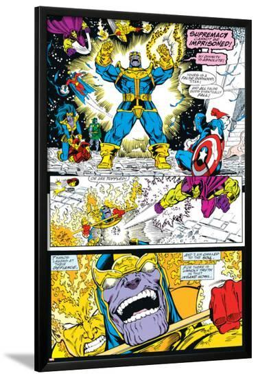 Infinity Gauntlet No.4 Group: Thanos, Captain America and Drax The Destroyer-George Perez-Lamina Framed Poster