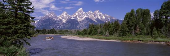 Inflatable Raft in a River, Grand Teton National Park, Wyoming, USA--Photographic Print