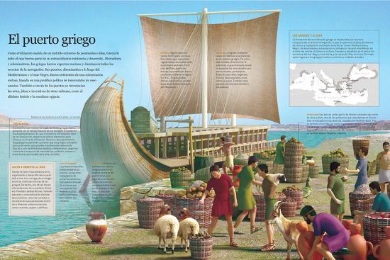 Infografía De Un Puerto De La Grecia Clásica, Principal Ámbito De Intercambio De Mercancías--Poster