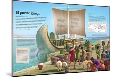 Infografía De Un Puerto De La Grecia Clásica, Principal Ámbito De Intercambio De Mercancías--Mounted Poster
