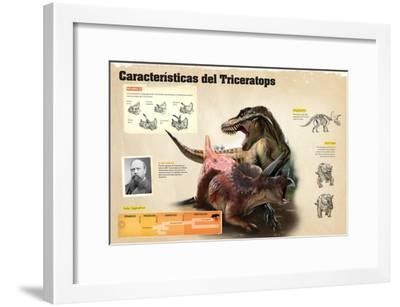 Infografía Sobre Algunas De Las Características Del Triceratops--Framed Poster