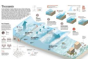 Infographic About Causes and Progression of a Tsunami