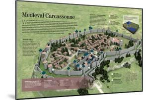 Infographic About the History and Town-Planning of Carcassonne, Medieval French City