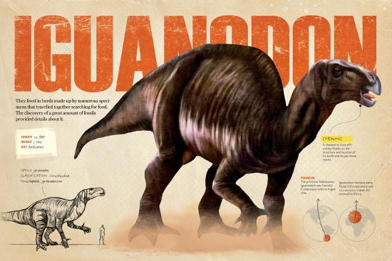 Infographic of the Iguanodon, an Ornithischia Dinosaur in the Cretaceous Period of the Mesozoic Era--Poster