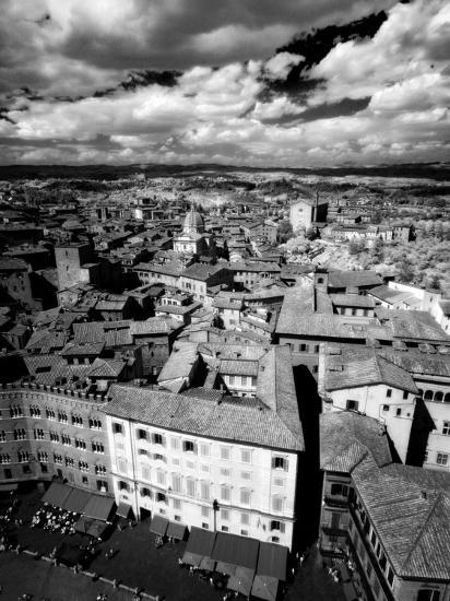 Infra Red Image of Siena across Piazza Del Campo from Tower Del Mangia, Siena, Tuscany, Italy-Lee Frost-Photographic Print
