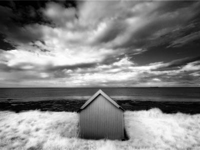 Infrared Image of Hut in Dunes Overlooking the North Sea, Bamburgh, Northumberland, England, UK-Lee Frost-Photographic Print