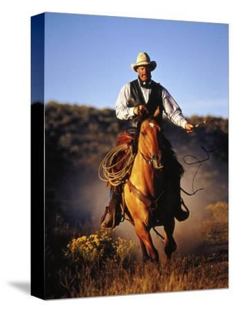 Cowboy on Running Horse with Whip