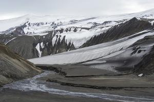 Antarctica. Deception Island. Tourists Hiking to the Volcanic Crater by Inger Hogstrom
