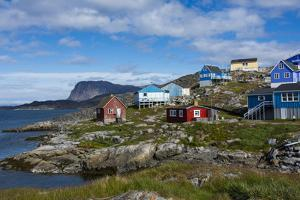 Greenland. Itilleq. Colorful houses dot the hillside. by Inger Hogstrom