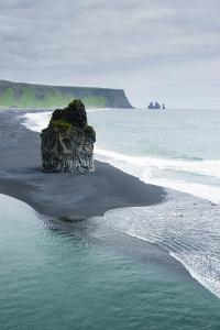 Iceland. Dyrholaey. Black Sand Beach and Sea Stack by Inger Hogstrom