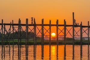 Myanmar. Mandalay. Amarapura. Tourists on the U Bein Bridge at Sunset by Inger Hogstrom
