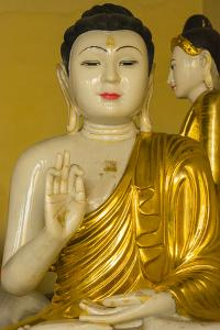 Myanmar. Yangon. Shwedagon Pagoda. Buddha in the Discussion Mudra by Inger Hogstrom