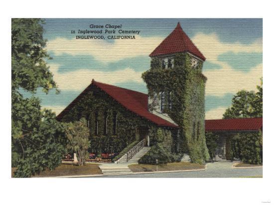 Inglewood, California - Grace Chapel, Inglewood Park Cemetery-Lantern Press-Art Print