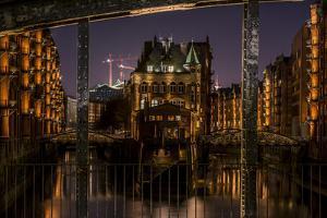 Germany, Hamburg, Speicherstadt (Warehouse District), Moated Castle, Night, Night Shot by Ingo Boelter