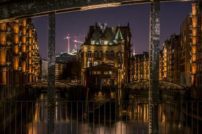 Germany, Hamburg, Speicherstadt (Warehouse District), Moated Castle, Night, Night Shot