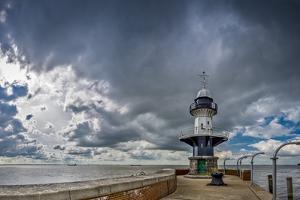 Germany, Schleswig - Holstein, Brunsb?ttel (Town), Lock, Lighthouse, Mole 1 (Jetty) by Ingo Boelter