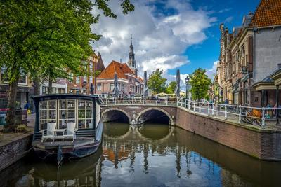 The Netherlands, Alkmaar, Church, Church Steeple, Canal
