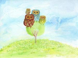 Owl Family by Ingrid Blixt