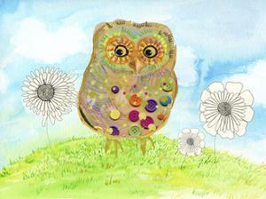 Owl & Flowers by Ingrid Blixt
