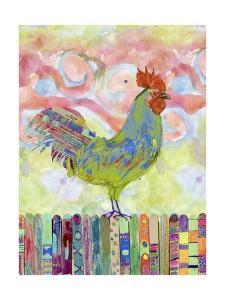 Rooster on a Fence I by Ingrid Blixt