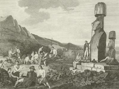 Inhabitants and Monuments of Easter Island--Giclee Print