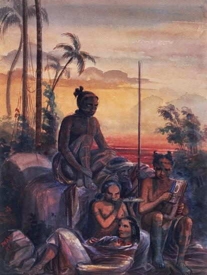 Inhabitants of Marquesas Islands, Watercolour by Maximilien Radiguet--Giclee Print